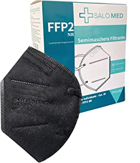 SALO MED 20x Masken FFP2 Schwarz - CE zertifiziert - Einzeln verpackt - 5-Lagen-Maske - BFE 99% Filterung - Box 20 Stück