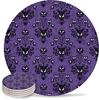 4 Piece Ceramic Drink Coasters Absorbent Stone Coaster Set,Halloween Grimace Haunted Mansion Pattern Table Centerpieces Home Decor With Cork Backing,Suitable for Kinds of Cups and Mugs