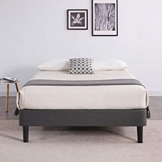 Classic Brands DeCoro Claridge Upholstered Platform Bed | Metal Frame with Wood Slat Support | Grey, Full