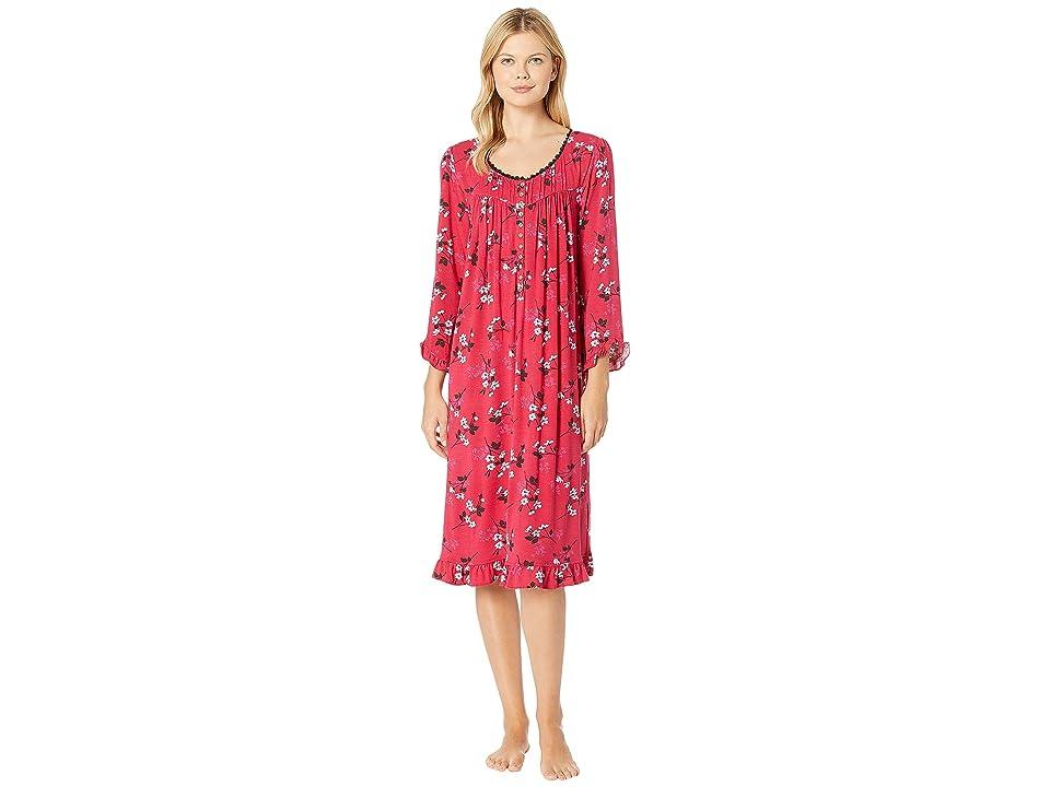 Eileen West Knit Modal Waltz Nightgown (Red Floral) Women