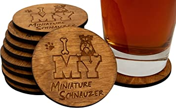 "I Love My Miniature Schnauzer - 4 Piece Natural Finish Handmade Engraved 3.5"" Wood Beer Coasters"