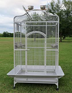 4 Size, 2 Color, Large Wrought Iron Open/Close Dome Play Top Bird Parrot Cage, Include Metal Seed Guard Solid Metal Feeder Nest Doors with Seed Skirt