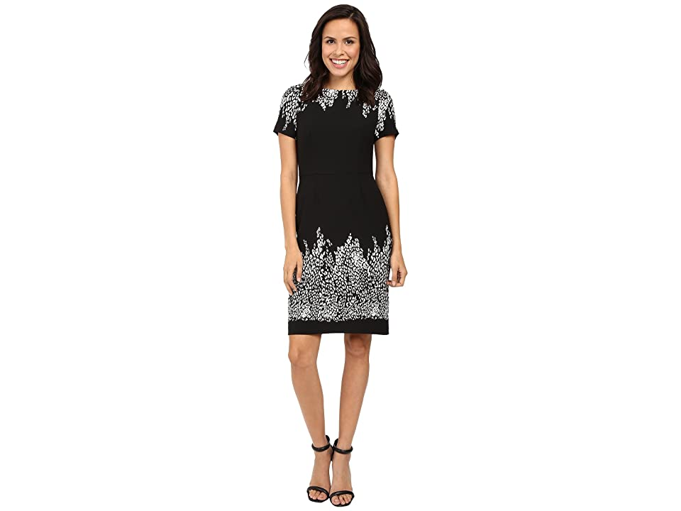 4f0f5ccc Adrianna Papell Animal and Lace Printed Blocked Sheath Dress (Black/Ivory)  Women