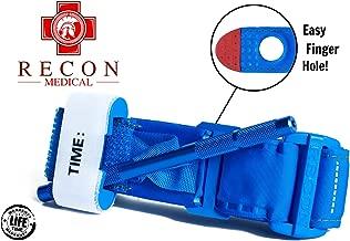Tourniquet -(Blue) Recon Medical Gen 3 Mil-Spec Kevlar Metal Windlass Aluminum First Aid Tactical Swat Medic Pre-Hospital Life Saving Hemorrhage Control Registration Card 1 Pack