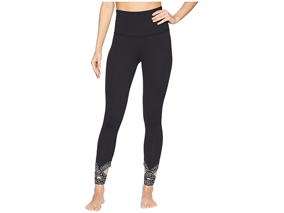 Beyond Yoga Badlands High-Waisted Strappy Midi Leggings (Jet Black) Women