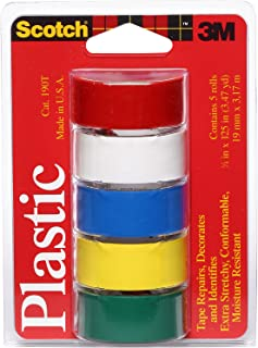 Scotch Super Thin Waterproof Vinyl Plastic Colored Tape, .75-Inch by 125-Inch, 5-Pack - 190T