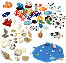 Summer Beach Sea Marine Park Miniature Garden Ornament Kit for DIY, Different Kinds of Resin Boat Starfish Mermaid Sea Gull Decorations and Mini Small/Middle Natural Conch Shells,a Bag Sea Sand