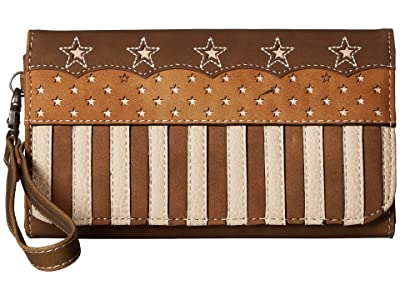 M&F Western Lady Liberty Clutch Wallet (Brown) Handbags