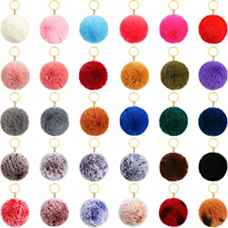 30 Pieces Pom Poms Keychains Fluffy Ball Pompoms Key Chain Colorful Faux Fur Pompoms Keyring for Girls Women Hats Shoes Ba...