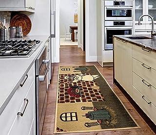 """Ottomanson Sara's Collection Design Non-Slip Rubber Backing Runner Rug, 20"""" x 59"""", Beige Kitchen Chef"""
