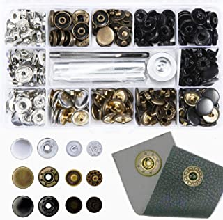 60 Set Snap Fasteners-3 Color(Gunmetal Black,Silver and Bronze) Snaps Button Press Studs with 4 Pieces Fixing Tools,Caps Diameter 10MM(0.39