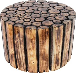 DIVINE DEKOR Round Small Wooden Stool for Cafe Outdoor Furniture Picnic Garden Living Room Bedroom Kitchen Home Décor Foot...