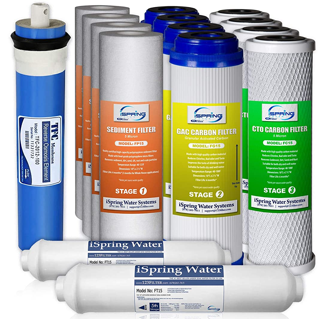 iSpring 5-Stage 100GPD Reverse Osmosis 2-Year Supply Filter Pack #F15-100, Fits RCC100P RCC7P RCC1UP, 15 Piece