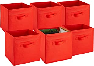 (Red) - Foldable Cube Storage Bins - 6 Pack - These Decorative Fabric Storage Cubes are Collapsible and Great Organiser fo...