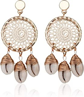 Loveliome Shell Earrings for Women, Bohemian Style Dream Net Long Drop Earrings Stainless Steel Pin