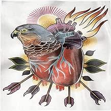 Lunarable Trippy Art Party Napkins Set of 4, Heart Flaming Hawk Head, 18