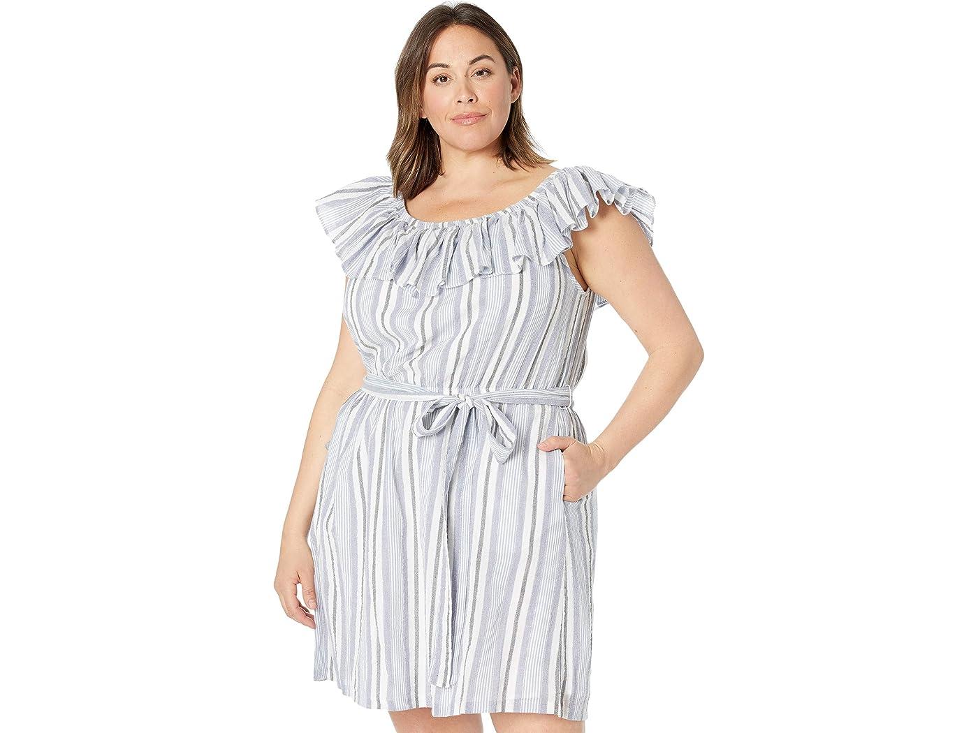 Plus Size Ruffle Neck Mini Dress