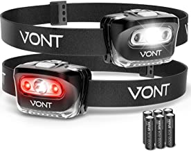 """Vont """"Spark"""" LED Headlamp [Batteries Included, 2 Pack] IPX5 Waterproof, with Red Light, 7 Modes, Head Lamp, for Running, Camping, Hiking, Fishing, Jogging, Headlight Headlamps for Adults & Kids"""