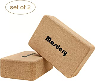 Masdery Premium Cork Yoga Block 9''x 6''x 4'' Non-Slip and Natural Eco-Friendly Yoga Block Suitable for Any Type of Yoga and Pilates (Set of 2)