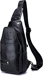 Men's Shoulder Bag, Popoti Sling Bag Backpack Leather Chest Bag Daypack Handbag Crossbody Messenger Bags Outdoor Hiking Travel Sports Bag (Black)