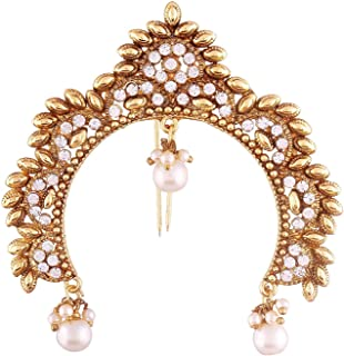 Aheli Indian Traditional Ethnic Wedding Wear Hair Brooch Pin Antique Gold Tone Styling Fashion Accessories Jewelry for Women