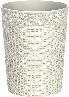Cosmoplast Plastic Rattan Wicker Storage Waste Basket, Off White, Large/10 Liters, IFHHBK044OW