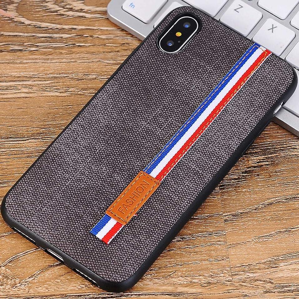 スーダンチップルアーYMF iPhone用のデニムのテクスチャ保護用バックカバーケースストラップ (Color : Grey)