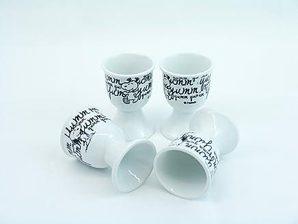 Preisvergleich für 4x Peanuts Snoopy Eierbecher Black & White United Labels Eggcup Geschenk Box