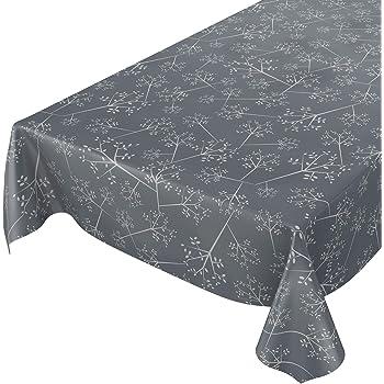 Aspect Textile Lisse Gris Rund 100cm Schnittkante ANRO Nappe en Toile cir/ée Lavable