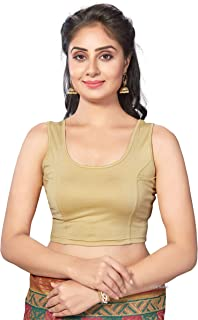 1dcb63508c eDESIRE Golden Cotton Lycra Readymade Non Padded Stretchable Saree Sleeveless  Blouse for Women & Girls (