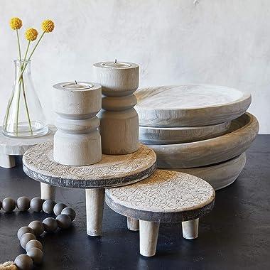 Santa Barbara Design Studio Table Sugar Hand Carved Paulownia Wood Serving Bowl, Medium, Grey