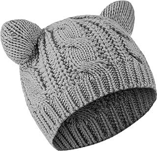 كات الأذن قبعة صغيرة لطيفة القط محبوك قبعة الشتاء متماسكة قبعة كابل للنساء الفتيات