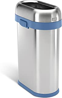 simplehuman 50 Liter / 13.2 Gallon Slim Open Top Trash Can, Commercial Grade, Heavy Gauge Brushed Stainless Steel with Blue Trim