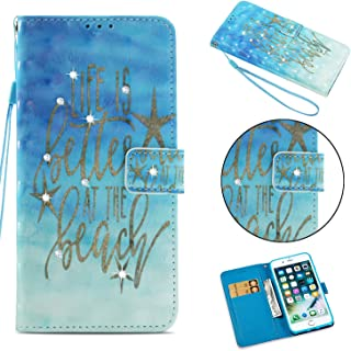 iPhone 8 Plus Case, iPhone 7 Plus Case, ZERMU 3D Bling Shiny Diamond Premium PU Leather Folio Shockproof Protective Wallet Case with Kickstand & ID Card Slot Holder & Hand Strap for iPhone 7/8 Plus