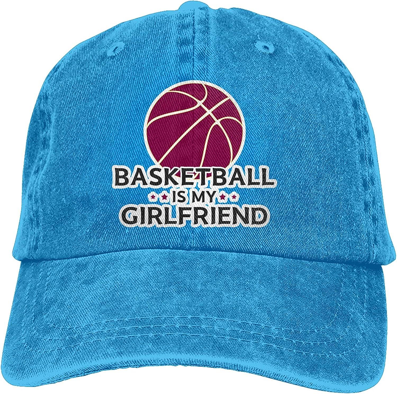 Basketball is My Girlfriend Baseball Cap Trucker Hat Retro Cowboy Dad Hat Classic Adjustable Sports Cap for Men&Women Blue