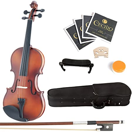 Mendini By Cecilio Solid Wood Violin - 4/4 Size, Antique- Starter Kit w/Extra Strings Hard Case, Rosin, Bow - Stringed Musical Instruments For Kids & Adults