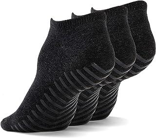 Gripjoy Low Cut Non Slip Socks for Women & Men, Ankle Socks with Grips, Grip Socks Non Skid - 3 pack