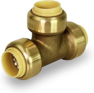 Pushlock UPET1 Tee Pipe Fittings Push to Connect Pex Copper, CPVC, 1 Inch, Brass