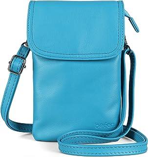Befen Damen-Clutch mit Handgelenkband aus echtem Vollnarbenleder, Geldbörse, kleine Handtasche für Smartphone