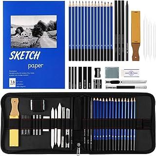 36 PCS Sketching Pencils Set, Professional Sketch&Drawing Set,Includes Graphite Pencils, Charcoal Pencils and Sticks, Pape...