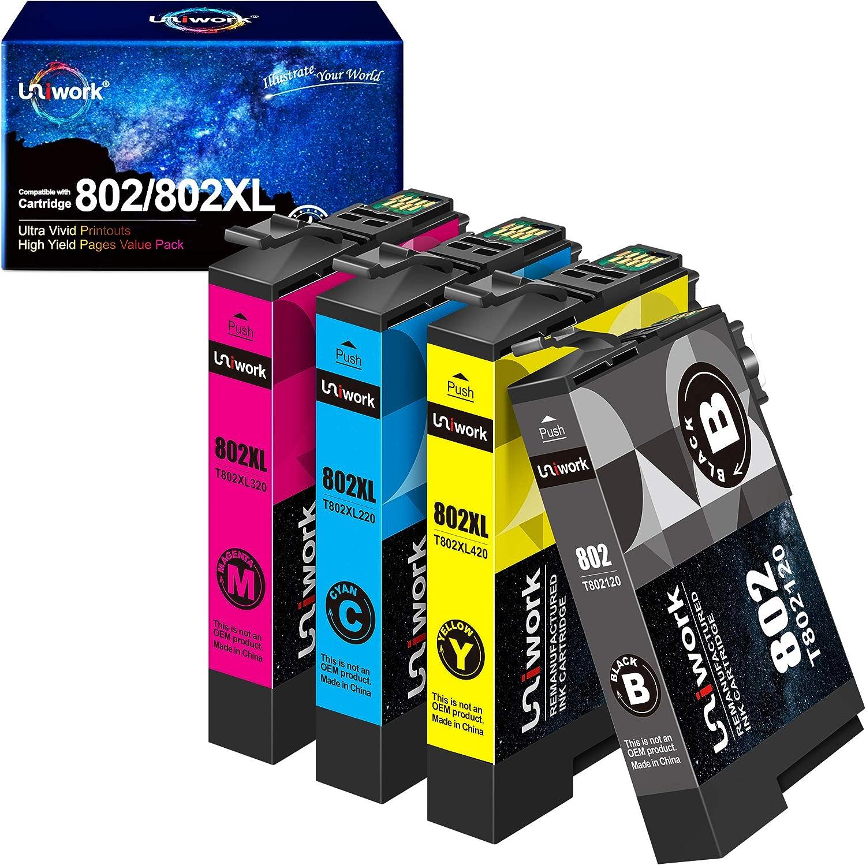 Uniwork Remanufactured Ink Cartridge Replacement for Epson 802XL 802 T802XL T802 use for Workforce Pro WF-4740 WF-4730 WF-4720 WF-4734 EC-4020 EC-4030 Printer Tray (1 Black 1 Cyan 1 Magenta 1 Yellow)
