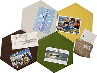 MCleanPin XL Size Hexagon Bulletin Board Wall Decoration – 4 Colors, Self-Stick Back, Cork Tiles Board for Office & Home décor, 11.8X10.24X0.47'' 4 Pack, Bonus- Storage Bag & Memo Pads & Pins