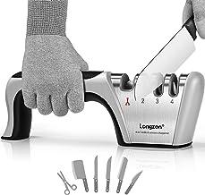 longzon Aiguiseur Couteaux, 4 en 1 Affuteur Couteau Professionnel avec Une Paire de Gants Anti-Coupure, eguiseur de Couteau pour Ciseaux et Couteaux de Cuisine de Différentes Tailles