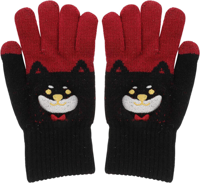 KESYOO Women Girls Cartoon Winter Gloves Thicken Touchscreen Knitting Gloves Warm Mittens Winter Warm Dress Up