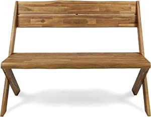 Christopher Knight Home 304410 Irene Outdoor Acacia Wood Bench, Sandblast Teak Finish