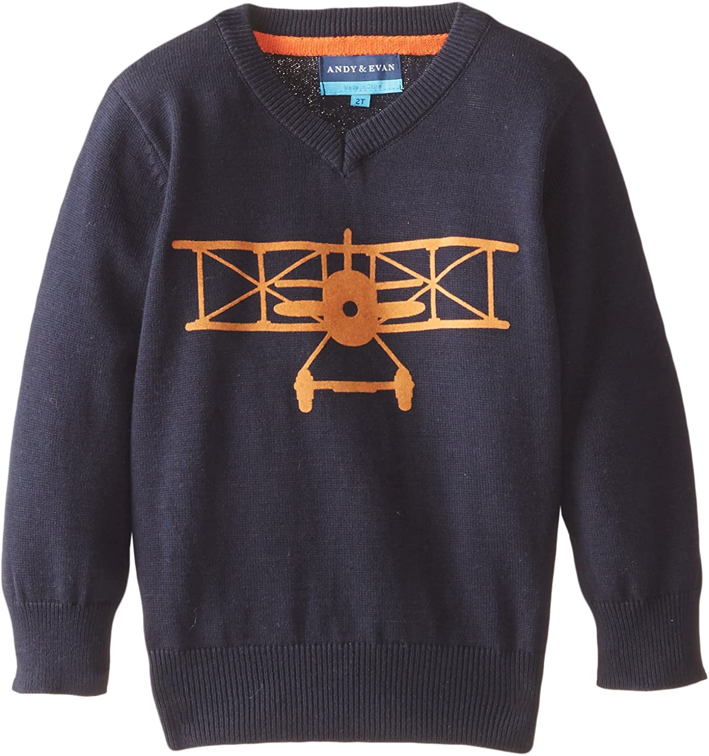 Andy & Evan Little Boys' Navy Airplane Sweater