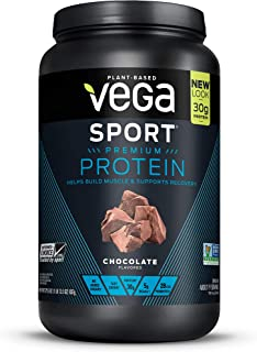 Vega Sport Protein Powder Chocolate(19 Servings, 29.5 Ounce) - Plant-Based Vegan Protein Powder, BCAAs, Amino Acid, tart cherry, Non Dairy, Keto-Friendly, Gluten Free, Non GMO (Packaging May Vary)