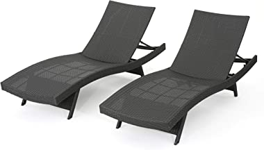 Christopher Knight Home Salem Outdoor Wicker Chaise Lounge Chairs, 2-Pcs Set, Grey