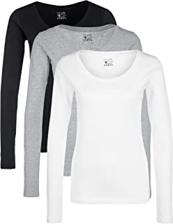 Berydale Camiseta de manga larga de mujer con cuello redondo