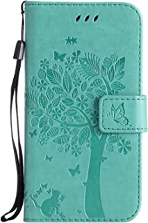 HAOTP Galaxy S5 Wallet Case, Floral Flower Love Tree & Cat Embossed PU Leather Magnetic Flip Shockproof TPU Inner Bumper Card Holders & Hand Strap Purse Case for Samsung Galaxy S5 I9600 Green